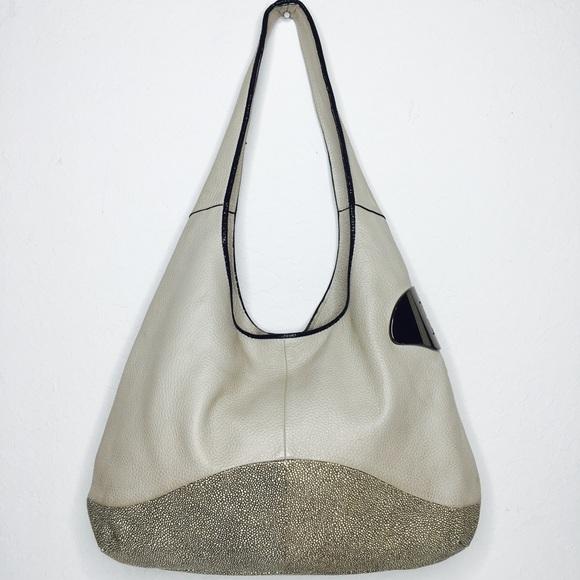 07409b65f9d Halston Heritage Handbags - Halston Heritage grey Twotone Leather Sack Hobo